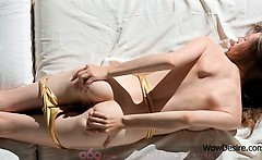 Sensual Gloria teasing her clit with her sexy undies