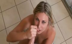 Blonde amateur does a hand job, some teasing and a blow job