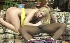 Slutty blonde mom dresses sexy and seduces the big black pool boy