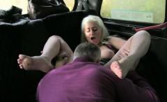 Huge boobs blonde slut fucked at the backseat