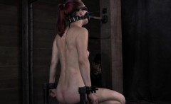 Muzzled sub whipped then pussy pleased by maledom