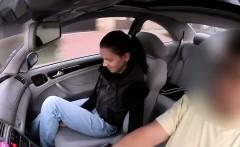 Redhead amateur babe wanks huge dick in car
