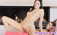 Adria and Mia in hot strap-on action
