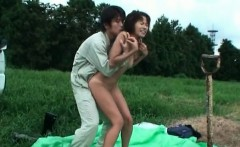 Outdoor threesome with a skinny Japanese