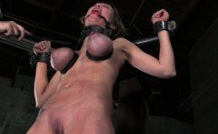 Big boobed bondage fetish sub whipped roughly