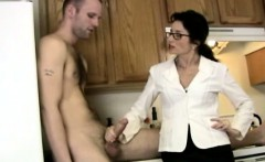 Dicksucking spex milf devours cock