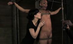 Tied up ebony bdsm slave Nikki Darling tormented