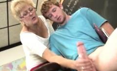 Spex mature teacher pulling his cock