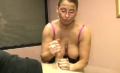 Busty mature in spex working his dong