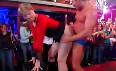 Party girls dancing with stripper