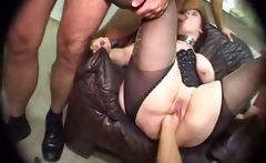 Busty chubby brunette in lingerie gets tortured and manhandled in threesome