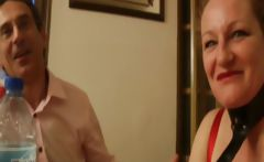 French mature Diane gangbanged in the kitchen