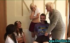 Cfnm femdom slut plays with guys dick