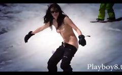 Playboy babes play nude on the beach and in the snow