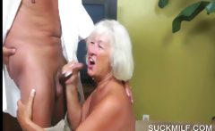 Blowjob with horny blonde cougar