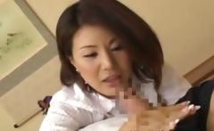 Hungry asian milf sucking on fingers and cock