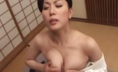 Hot oriental MILF sucking cock and giving titty fuck