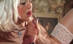Amazing platinum blonde slut enjoys