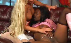 Lesbian slut gets fucked by big black