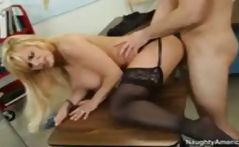 Busty, blonde teacher Shyla Stylez gets fucked by her horny student