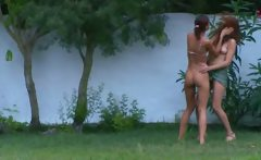 french chicks watersports in the garden