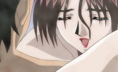 Cute anime brunette slut sucks hard cock