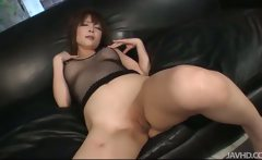 Riona looks sexy in black and her husband bends her over to