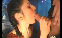 Sexy brunette slut goes crazy sucking