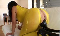 Nasty brunette slut gets horny dildo