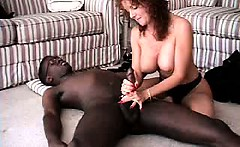 Lovely mature amateur housewife interracial cuckold handjob