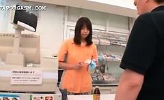 Sweet asian shop attendant gets cunt teased upskirt