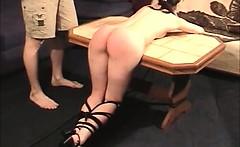 Hot brunette babe gets spanked hard